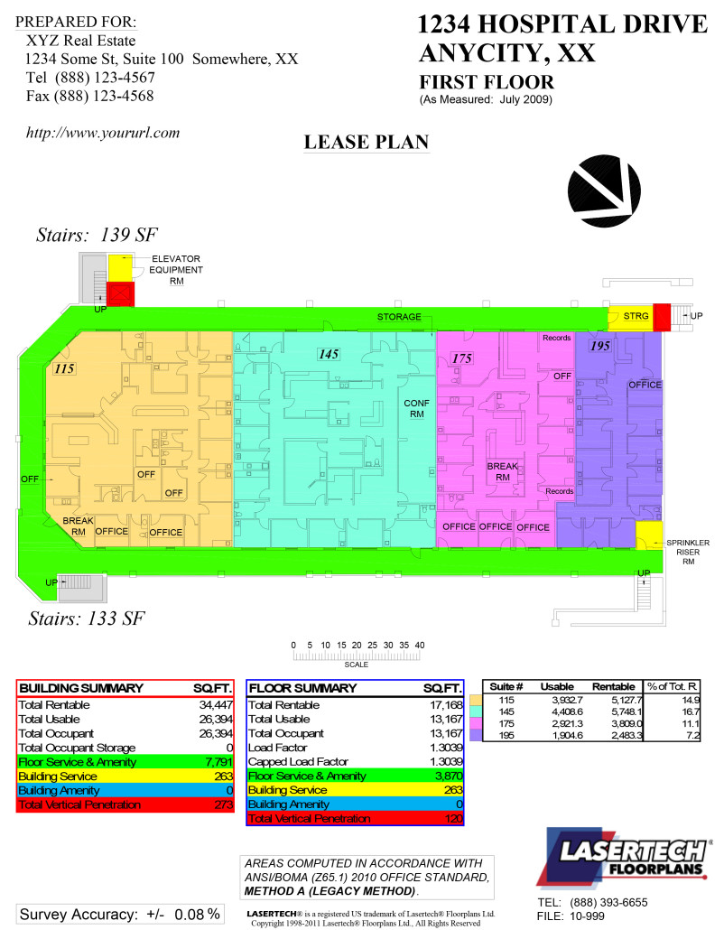 Lease Plans on Color Coded Floor Plan