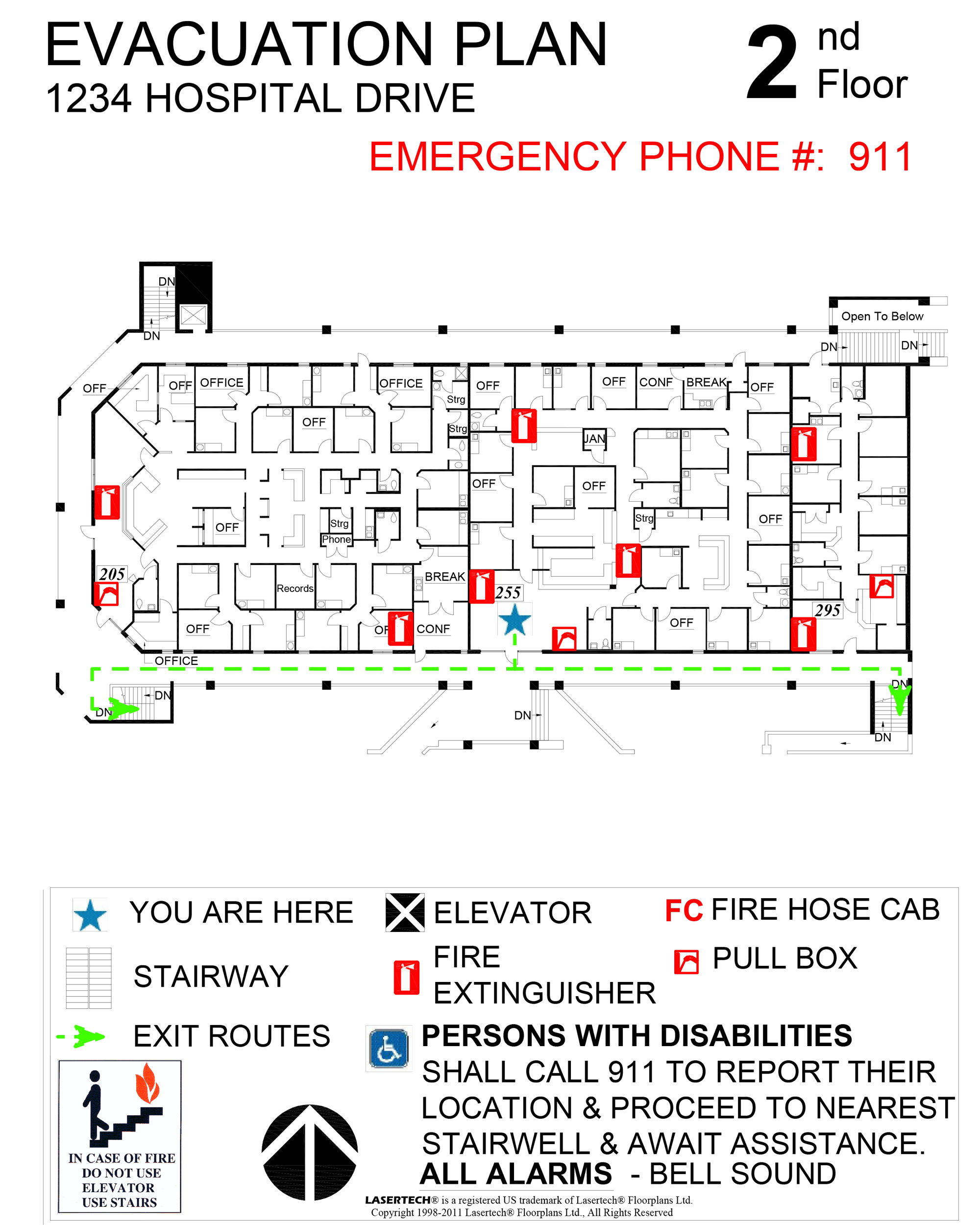 Emergency evacuation plans lasertech floorplans for Occupant emergency plan template